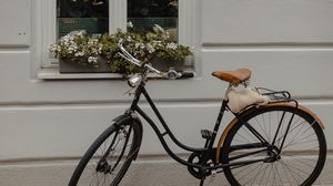 Preview wallpaper bicycle, window, flowers