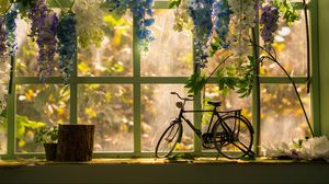 Preview wallpaper bicycle, window, statuette, flowers