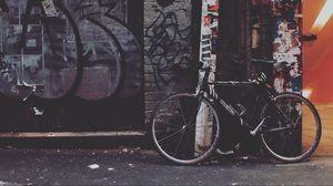 Preview wallpaper bicycle, yard, graffiti