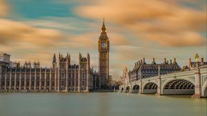 Preview wallpaper big ben, panorama, bridge, river, london, united kingdom