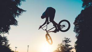 Preview wallpaper bike, bmx, man, jump