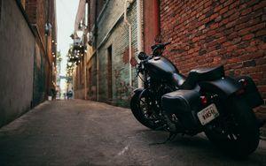 Preview wallpaper bike, motorcycle, side view, yard