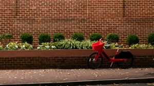 Preview wallpaper bicycle, red, building, road