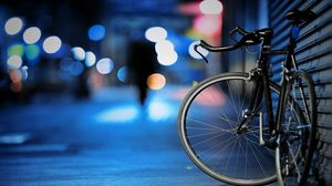 Preview wallpaper bike, street, night, wall