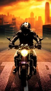 Preview wallpaper biker, bike, motorcycle, motorcyclist, photoshop