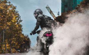 Preview wallpaper biker, motorcycle, drift, smoke, bike