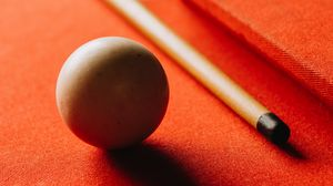 Preview wallpaper billiards, ball, cue, table, hole, red, shadow