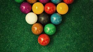 Preview wallpaper billiards, balls, cloth, snooker, pool