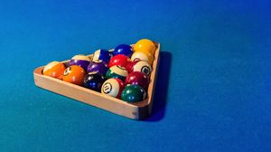 Preview wallpaper billiards, balls, triangle, broadcloth, table