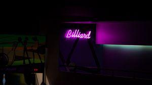 Preview wallpaper billiards, inscription, neon, backlight