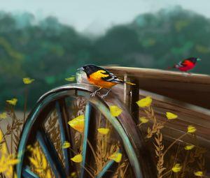 Preview wallpaper bird, cart, wheel, nature, art