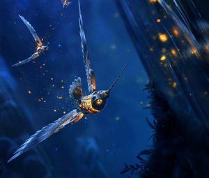 Preview wallpaper bird, fantastic, flight, glow, art