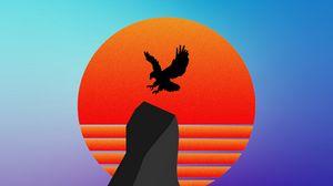 Preview wallpaper bird, silhouette, mountain, vector, art