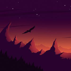 Preview wallpaper bird, silhouette, vector, mountains, art, sky