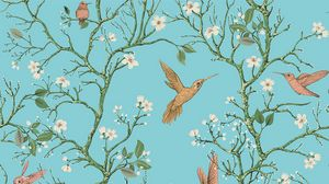 Preview wallpaper birds, branches, flowers, spring, pattern