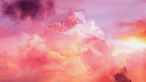Preview wallpaper birds, flock, pink, sky