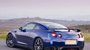 Preview wallpaper blue, wheels, exhaust, sky, nissan