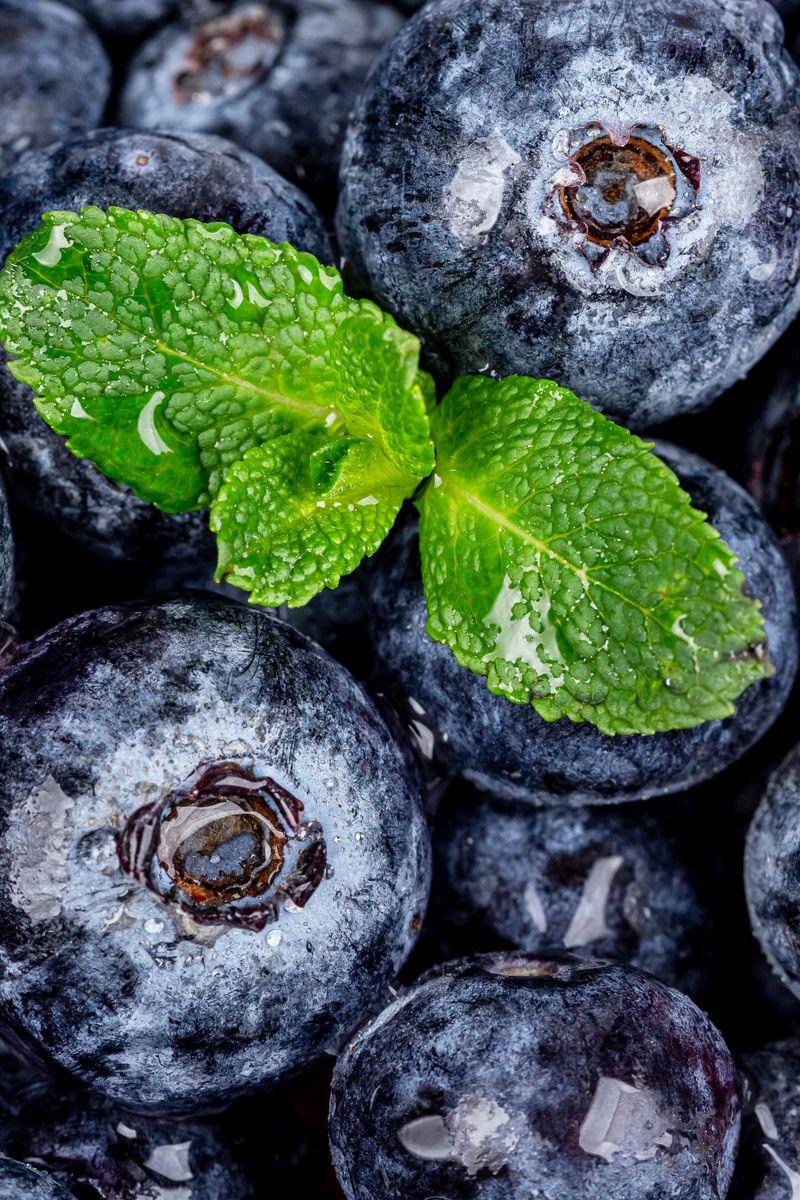 800x1200 Wallpaper blueberries, berries, mint, wet, macro