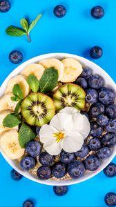 Preview wallpaper blueberry, kiwi, banana, mint, flower, fruit