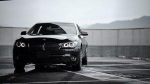 Preview wallpaper bmw 7, bmw, black, sedan, front view, premium