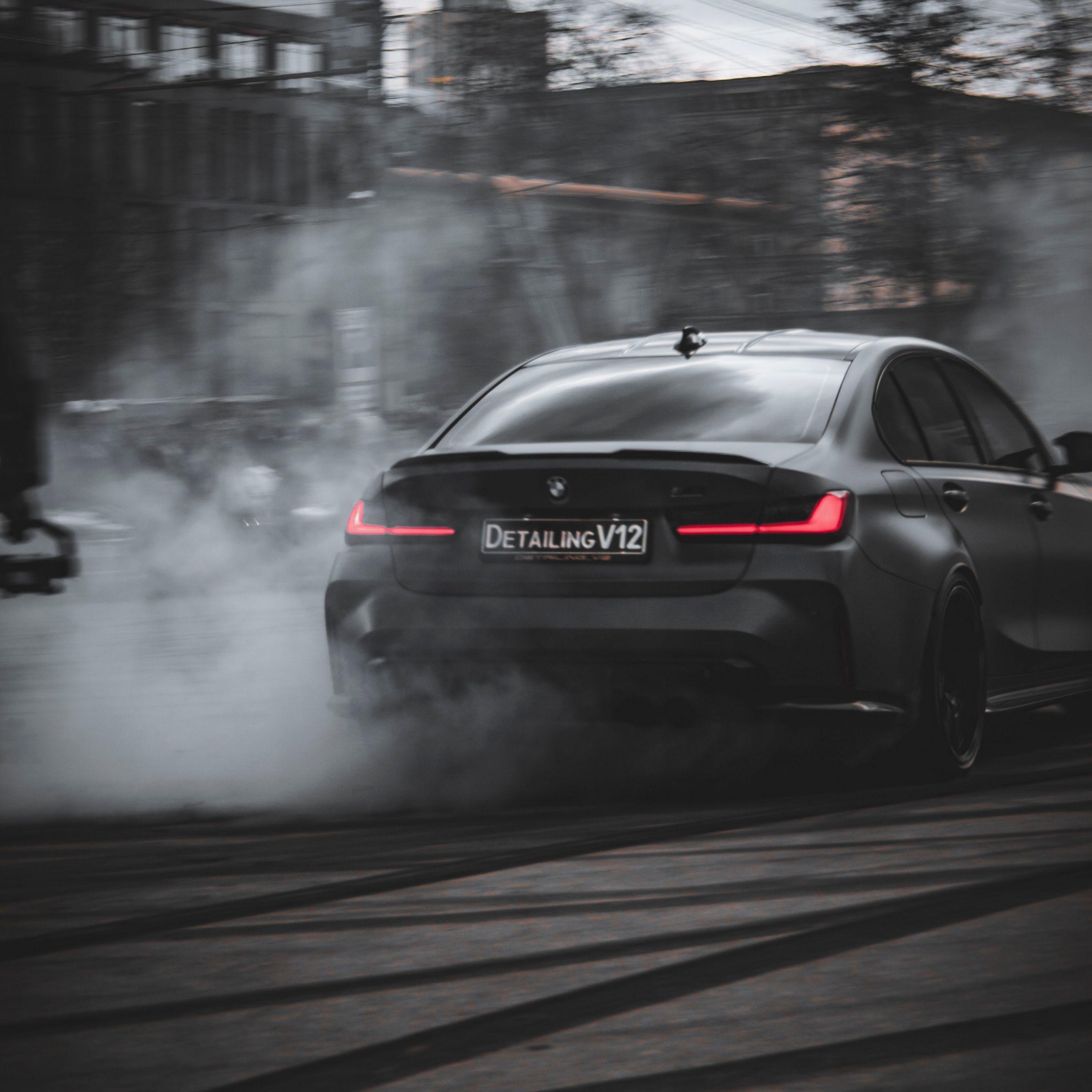 2780x2780 Wallpaper bmw, car, black, drift, smoke