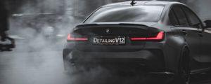 Preview wallpaper bmw, car, black, drift, smoke