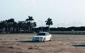 Preview wallpaper bmw, car, drift, palm trees