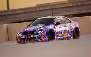 Preview wallpaper bmw, car, drift, track, purple