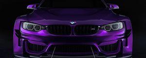 Preview wallpaper bmw, car, sportscar, purple, front view