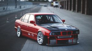 Preview wallpaper bmw, e34, red, cars, side view, sports