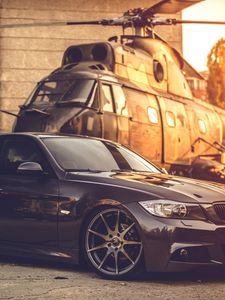 Preview wallpaper bmw, e90, deep concave, black, helicopter