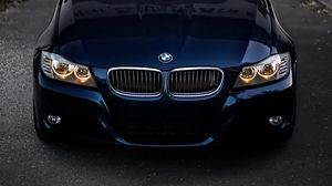 Preview wallpaper bmw, front view, headlights, blue