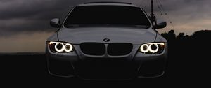 Preview wallpaper bmw, headlights, car, cloudy, overcast