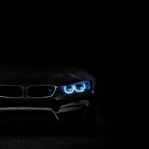 Preview wallpaper bmw, headlights, lights, car, dark