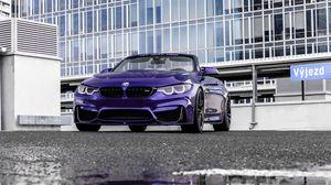 Preview wallpaper bmw m4, bmw, car, convertible, purple, parking