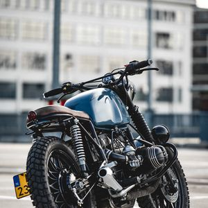 Preview wallpaper bmw r80, bmw, motorcycle, bike, blue, side view