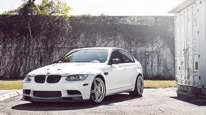 Preview wallpaper bmw, sedan, white, wheels, tree, m3, e90