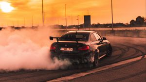Preview wallpaper bmw, speed, drift, smoke, sunset