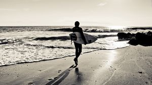 Preview wallpaper board, sand, surf, sea, surfing, sport