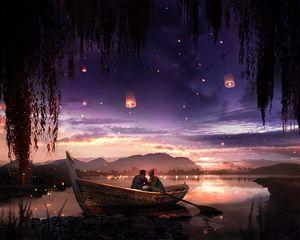 Preview wallpaper boat, couple, stars, night, romance, art