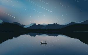 Preview wallpaper boat, mountains, starfall, art