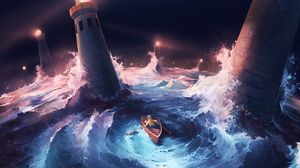 Preview wallpaper boat, storm, lighthouses, sea, art