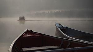 Preview wallpaper boats, fog, river, evening