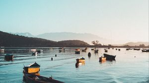 Preview wallpaper boats, harbor, waves, coastline, moored