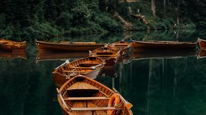 Preview wallpaper boats, lake, water, forest, trees