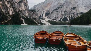 Preview wallpaper boats, mountains, lake