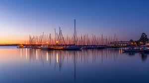 Preview wallpaper boats, pier, sea, water, twilight