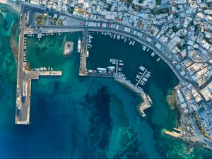 Preview wallpaper boats, port, pier, aerial view, city, sea