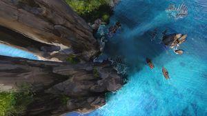 Preview wallpaper boats, rocks, ocean, top view, art