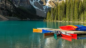 Preview wallpaper boats, water, mountains, forest